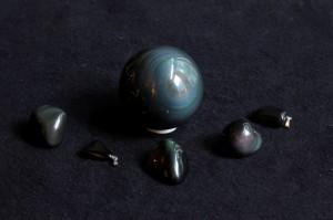 Obsidiaan-regenboogobsidiaan-groep